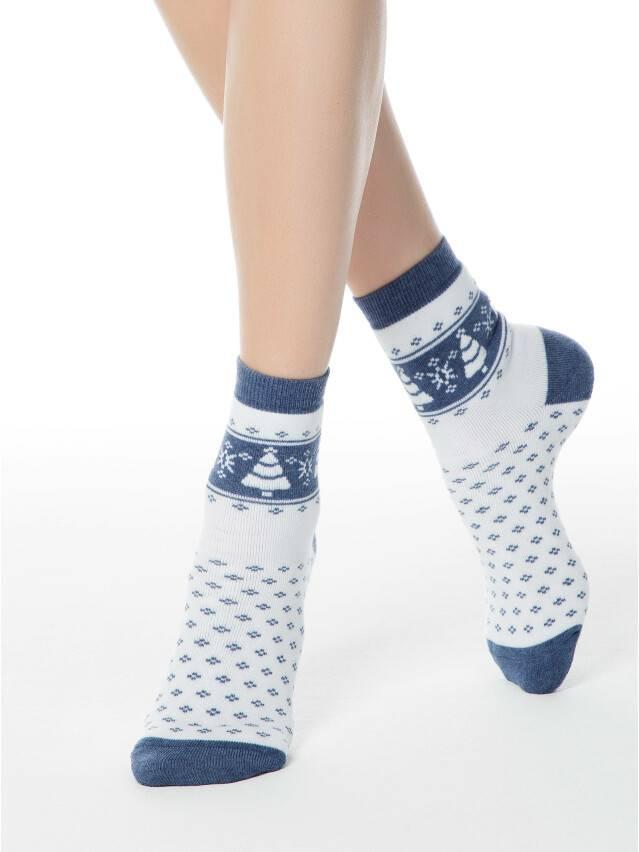 Skarpety damskie bawełna COMFORT (frotte),r. 23, 080 biały-jeans - 1