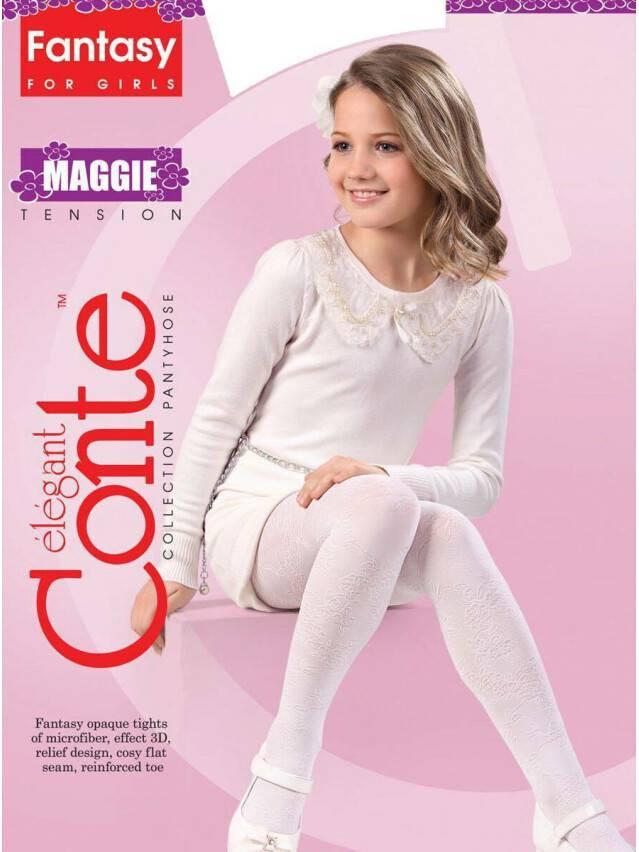 Rajstopy eleganckie dla dzieci MAGGIE, r. 104-110, bianco - 1