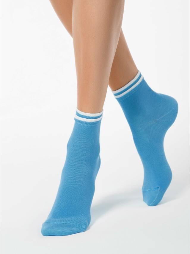 Skarpety damskie CLASSIC, bawełna (dekoracyjna gumka) 7С-32СП, r. 23, 010 turkus - 1