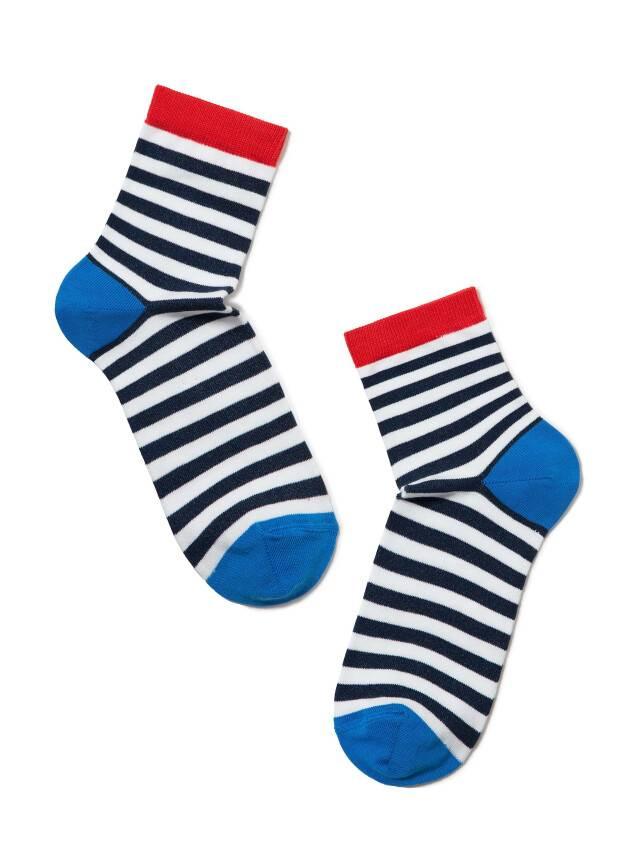 Skarpety damskie bawełniane CLASSIC, r.23, 087 biały-ciemnoniebieski - 2