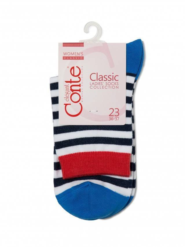 Skarpety damskie bawełniane CLASSIC, r.23, 087 biały-ciemnoniebieski - 3