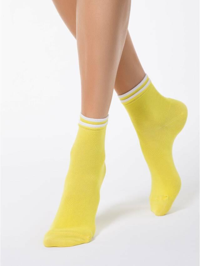 Skarpety damskie CLASSIC, bawełna (dekoracyjna gumka) 7С-32СП, r. 23, 010 żółty - 1