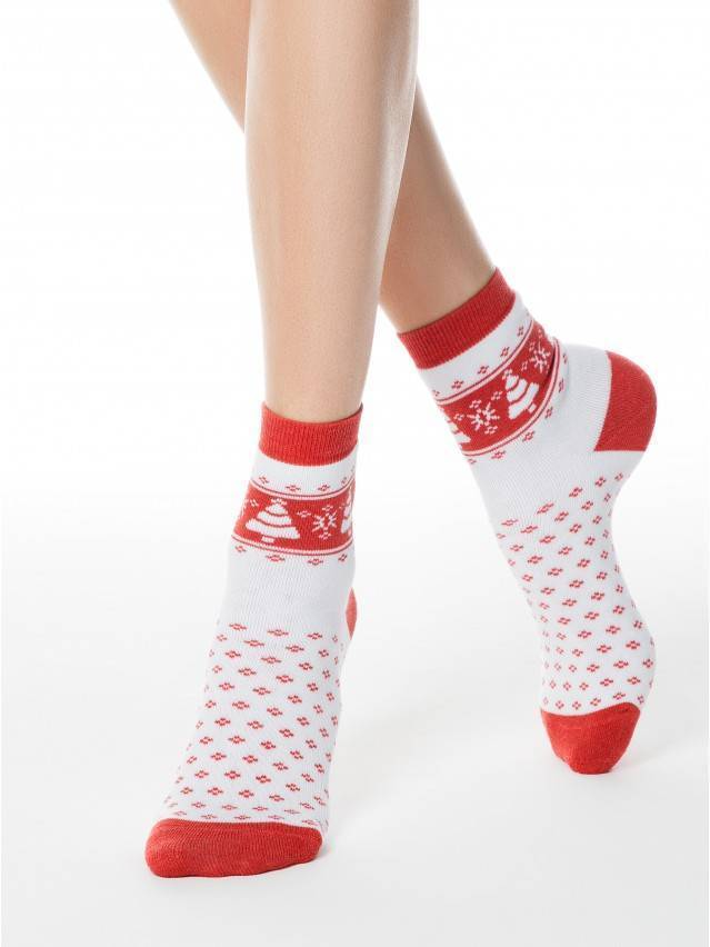 Skarpety damskie bawełna COMFORT (frotte),r. 23, 080 biały-czerwony - 1