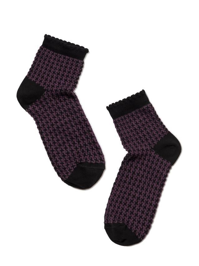 Skarpety damskie CLASSIC, bawełna (z pikotem) 14С-93СП, r. 23, 056 czarny-bakłażan - 2