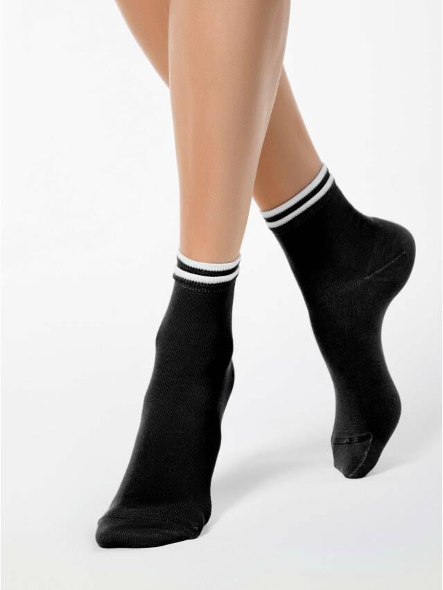 Skarpety damskie CLASSIC, bawełna (dekoracyjna gumka) 7С-32СП, r. 23, 010 czarny - 1