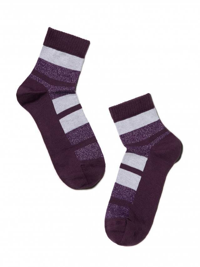 Skarpety damskie bawełniane CLASSIC (lureks) 16С-26СП, r.23, 082 bakłażan - 2