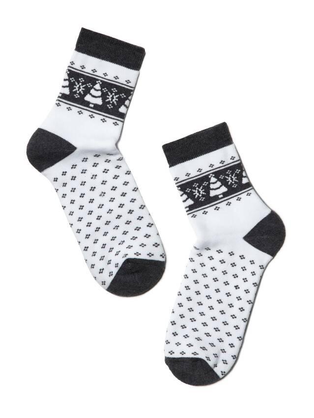Skarpety damskie bawełna COMFORT (frotte),r. 23, 080 biały-ciemnoszary - 2