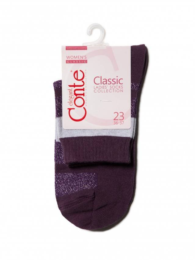 Skarpety damskie bawełniane CLASSIC (lureks) 16С-26СП, r.23, 082 bakłażan - 3