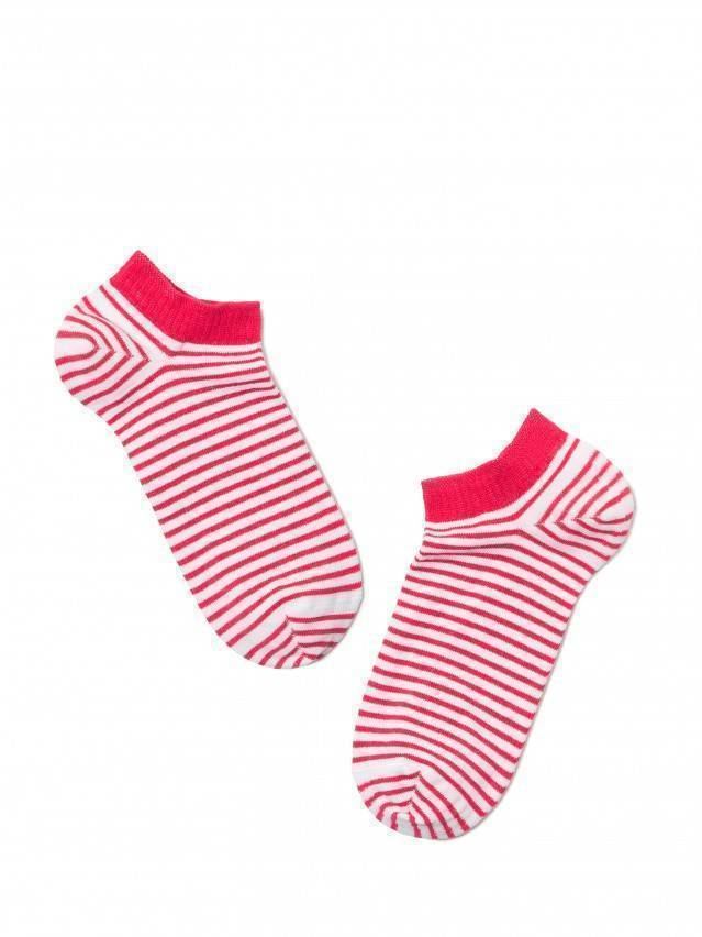 Skarpety damskie ACTIVE, bawełna (ultra krótkie) 15С-46СП, r. 23, 073 biały-malinowy - 2