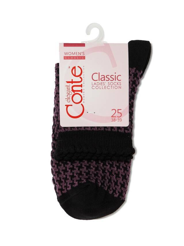 Skarpety damskie CLASSIC, bawełna (z pikotem) 14С-93СП, r. 23, 056 czarny-bakłażan - 3