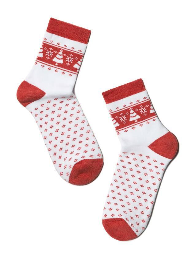 Skarpety damskie bawełna COMFORT (frotte),r. 23, 080 biały-czerwony - 2