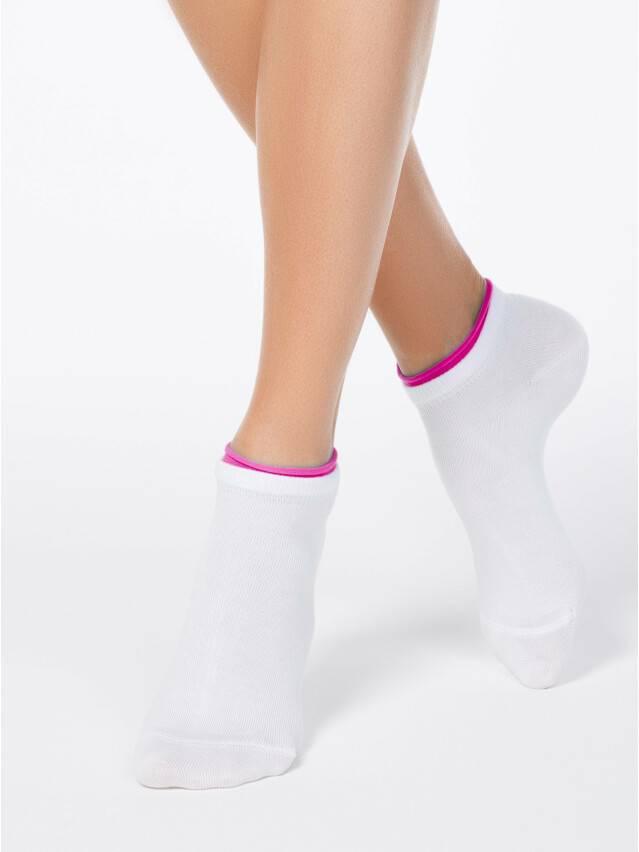 Skarpety damskie bawełniane ACTIVE (dekoracyjna gumka) 12С-32СП, r. 38-39, 035 biały-malinowy - 1