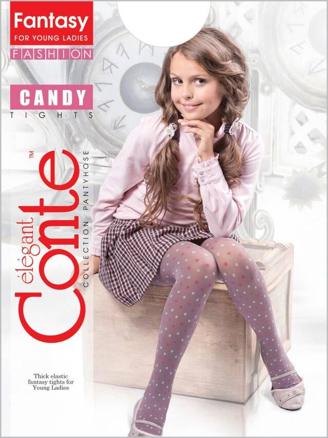 Rajstopy dla dzieci CANDY, poliamid, r.140-146, pink-bianco - 1