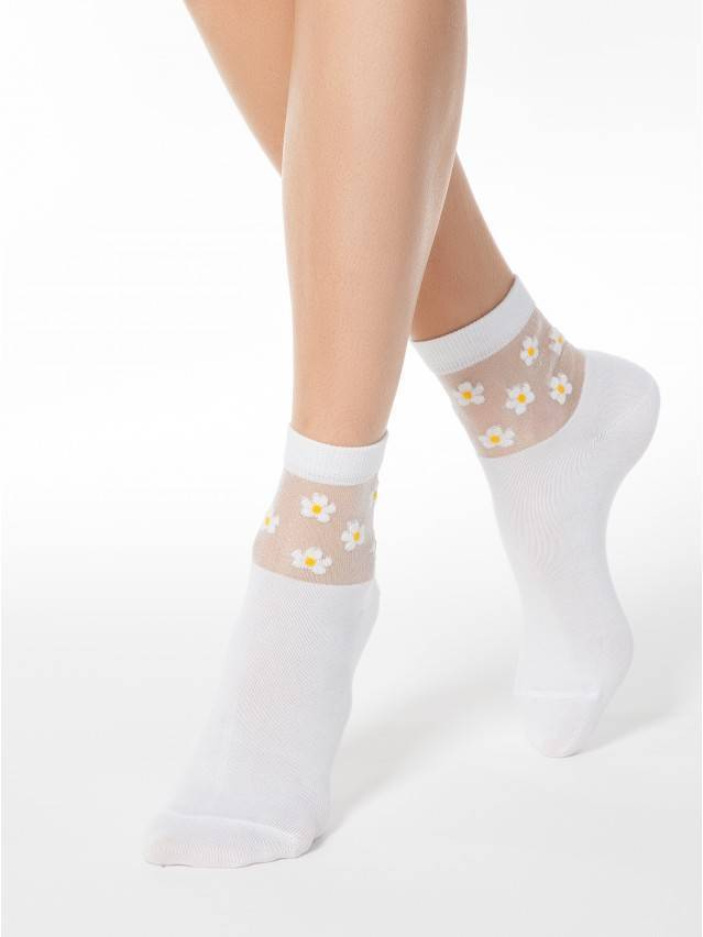 Skarpety damskie bawełniane CLASSIC (rete) 16С-83СП, r.23, 084 biały - 1