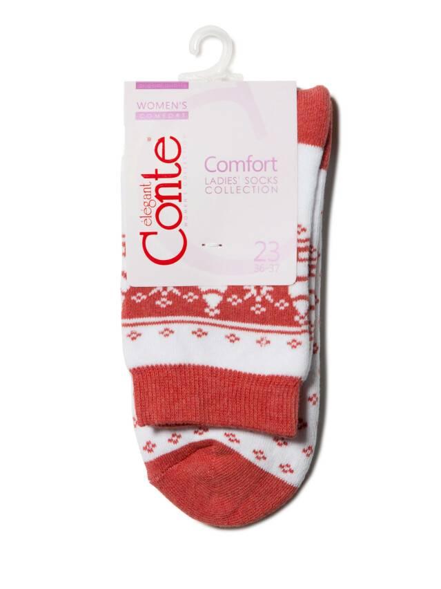 Skarpety damskie bawełna COMFORT (frotte),r. 23, 080 biały-czerwony - 3