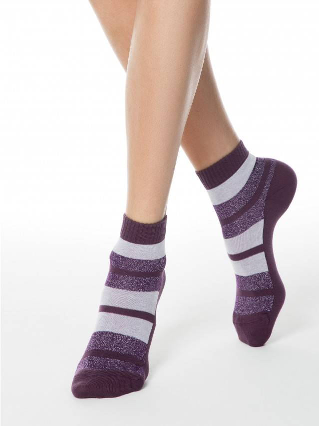 Skarpety damskie bawełniane CLASSIC (lureks) 16С-26СП, r.23, 082 bakłażan - 1